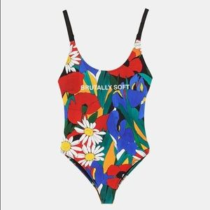 Zara sexy bodysuit floral print multicolor NWT  SM